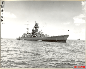 As USS Prinz Eugen, before the atomic bomb tests at Bikini Atoll.