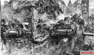 Artist's impression for the London Illustrated News of the Tiger being engaged though the corner window by Bramall's Sherman Firefly. The artist has drawn the Firefly as a Covenanter tank.