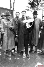 Von Braun, with his arm in a cast from a car accident, surrendered to the Americans just before this May 3, 1945 photo.
