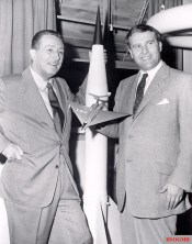 Walt Disney and von Braun, seen in 1954 holding a model of his passenger ship, collaborated on a series of three educational films.
