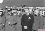 First rank, from left to right, General Dr Walter Dornberger (partially hidden), General Friedrich Olbricht (with Knight's Cross), Major Heinz Brandt, and Wernher von Braun (in civilian dress) at Peenemünde, in March 1941.