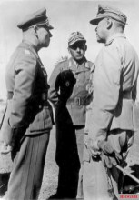 North Africa, February 1942. Kesselring (right) meets with Erwin Rommel (left) and Fritz Bayerlein of the Afrika Korps.