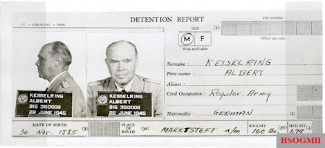 Albert Kesselring's detention report from June 1945.