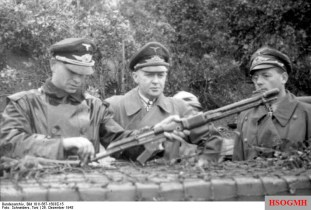 Luftwaffe officers inspect and strip an FG 42 in December 1943.