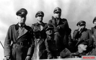 "From left to right: Generalfeldmarschall Gerd von Rundstedt (Oberbefehlshaber West), SS-Standartenführer Kurt Meyer (Kommandeur SS-Panzergrenadier-Regiment 25 / 12.SS-Panzer-Division ""Hitlerjugend""), SS-Obergruppenführer und General der Waffen-SS Josef ""Sepp"" Dietrich (Kommandierender General I. SS-Panzerkorps) and SS-Oberführer Fritz Witt (Kommandeur 12. SS-Panzer-Division ""Hitlerjugend"") watch a military drill of the 12. SS Panzer Division Hitlerjugend at the Beverloo Training Ground, Belgium in 3 March 1944."