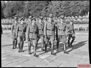 """Gestapo Müller"" (front row, to the left) and Reinhard Heydrich visiting a war cemetery in Oslo, Norway in 1941."