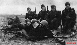 Danish troops at Bredevad on the morning of the German attack. Two of these soldiers were killed in action later that day.