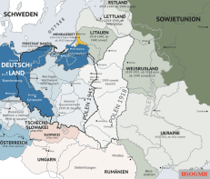 An illustration of the changing borders in Eastern Europe before, during, and after World War II. Map is written in German.
