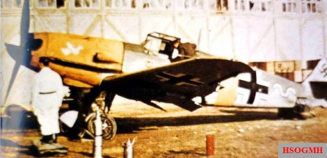 """This Messerschmitt Bf 109 F-4 fighter operated over the northern sector of the Ostfront, and in 1941 belonged to 7.Staffel of Jagdgeschwader 54 (JG 54) """"Grünherz"""" (Green Hearts)."""