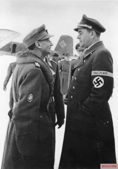 Eduard Dietl and Albert Speer, at Rovaniemi Airport in Finland, during December 1943.