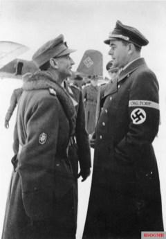 Eduard Dietl and Albert Speer, at Rovaniemi Airport in Finland, during December 1943.