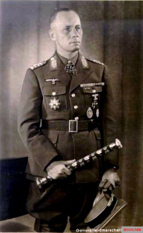 Field Marshal Erwin Rommel u. a. with ribbon buckle , Halsorden , the Military Order of Savoy (Bruststern to the Grand Officer) and Marshal Staff.