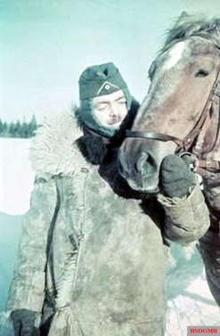 German Wehrmacht soldier with his horse on the Eastern Front, winter of 1941/42.