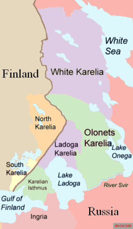 Parts of Karelia, as they are traditionally divided.