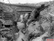 Trenches of the 11th Cheshire Regiment at Ovillers-la-Boisselle, on the Somme, July 1916.