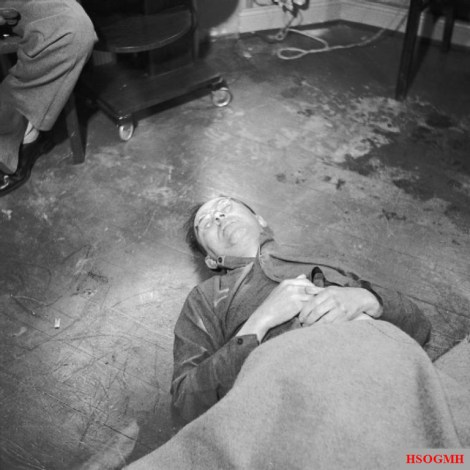 Himmler's corpse after his suicide, May 1945.