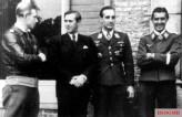 Nachtjagd Experten at St. Trond, early spring 1944. From left to right: : Major Helmut Lent, bandmaster, Oberleutnant Heinz-Wolfgang Schnaufer, and Hauptmann Hans-Joachim Jabs.