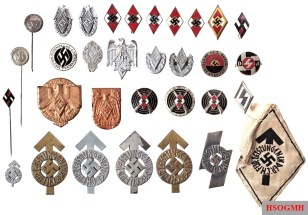 Various DJ and HJ badges: Golden HJ medal, four HJ member and two cap badges, two shooting awards and a sniper shooting award. HJ performance badge in iron (textile design), two in bronze and two in silver (one with miniature). DJ membership badges and DJ performance badges. Member badge NS student federation with miniature and badge of the old gentleman federation. In addition two Reichsjugendsportabzeichen in silver, 1. and 2. model, nine Treffabzeich and / or Siegernadeln.