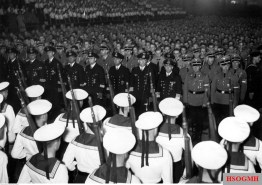 "Hitlerjugend demonstration under the banner of ""Die Ritterkreuzträger der Kriegsmarine Rede an die Hitlerjugend"" (The Knight's Cross Recipients of the German Navy Speech to the Hitler Youth) at the Berlin Sportpalast, 16 June 1943."