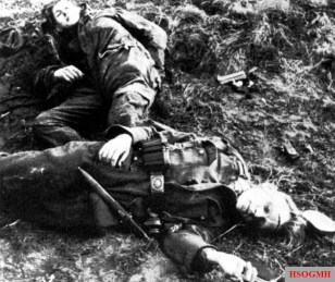 Two Hitler Youth boys killed at the Battle of Aachen.