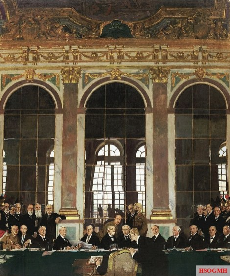 The signing of the Treaty of Versailles in the Hall of Mirrors, Versailles, 28 June 1919, by Sir William Orpen.