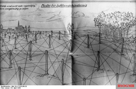 """A German design for """"Rommel's Asparagus"""", intended to be an obstacle to glider landings."""