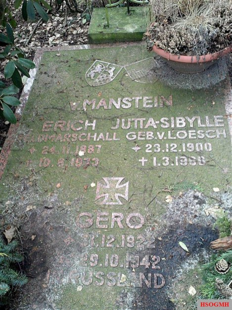 Erich von Manstein and his wife's grave and mention of his son Gero who is buried in Russia.