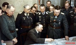 Briefing in the headquarters of the Army Group Vistula in the castle Harnekop near Berlin on 3 March 1945; behind Adolf Hitler five knights cross bearer; from left: Wilhelm Berlin , General of the Artillery in the OKW, Field Marshal Robert Ritter von Greim, Commander of the Air Force 6, Major General Franz Reuss , Commander of the 4th Flieger Division, General of the Flakartillerie Job Odebrecht , Commanding General of the 2nd Flak Corps ( mot.) and General of the Infantry Theodor Busse , Commander in Chief of the 9th Army.