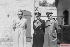 Speer (left), Karl Dönitz and Alfred Jodl (right) after their arrest by the British Army in Flensburg in May 1945.