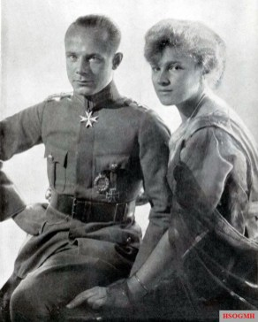 "Ernst Udet with his fiancée Eleonore ""Lo"" Zink. Her name always graced the side of his albatross and his Fokker, they married on February 25, 1920, the marriage lasted only three years."