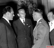 Festive evening in honor of Fritz Wendel in the Haus der Flieger in Berlin after his world record with the Bf 109 R (formerly Me 209 V-1); Constructor Willy Messerschmitt, NSDAP member Wendel, Colonel General Erhard Milch, and Lieutenant General Ernst Udet.