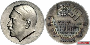 One of the numerous commemorative coins for the Führer's 50th birthday.