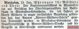 Article of the new Werner Mölders School and Street and Udet Street in Wiesbaden -Erbenheim, Wetzlarer Anzeiger of January 16, 1942.