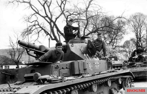 German Panzer IV of the 11th Panzer Division of the 20th Army with crew on a highway towards Belgrade.