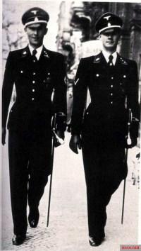 """SS Obersturmführer Richard Schulze (left) and SS Untersturmführer Hans-Georg Schulze of the Leibstandarte SS """"Adolf Hitler""""."""