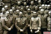 The staff of the SS Panzer Grenadier Division Leibstandarte SS Adolf Hitler, 1943. From the left 1st row: Kurt Meyer, Sepp Dietrich, Hermann Weiser; 2nd row: Theodor Wisch, Hugo Kraas, Albert Frey, Rudolf Sandig; 3rd row: Alfred Günther, Rudolf Lehmann.