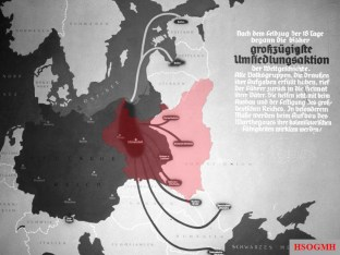 """Origin of ethnic German colonisers, resettled into German-annexed and occupied Poland during """"Heim ins Reich"""" action. Poster superimposed with the red outline of Poland missing from the original print."""