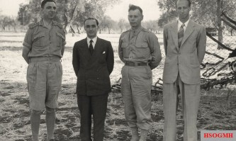After the signing at Cassibile on 3 September 1943. From left to right: Kenneth Strong, Castellano, Walter Bedell Smith and Franco Montanari.