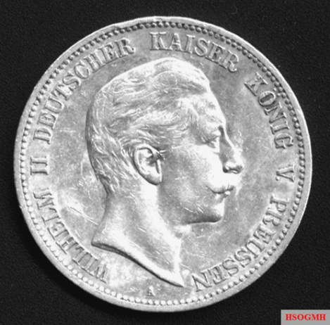 Silver 5-mark coin of Wilhelm II.