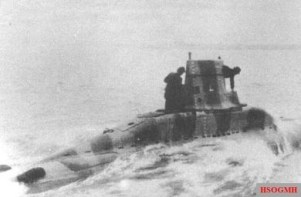 Prototype German V-80 midget submarine at sea.
