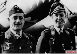 1 October 1940, Hauptmann Erich Groth and Oberleutnant Hans-Joachim Jabs. Their aircraft is visible in the background.
