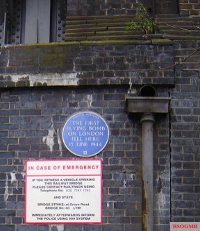 On 13 June 1944, the first V-1 struck London next to the railway bridge on Grove Road, Mile End, which now carries this English Heritage blue plaque. Eight civilians were killed in the blast.