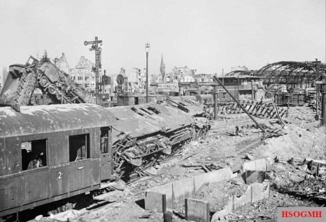 A scene of complete devastation in the railway yards at Munster, as discovered by British ground forces on 7 April 1945. The administrative center of Westphalia, and a major rail junction. Munster had suffered heavy Bomber Command and USAAF attacks when it became a tactically important reinforcement route into the Rhine battle area.