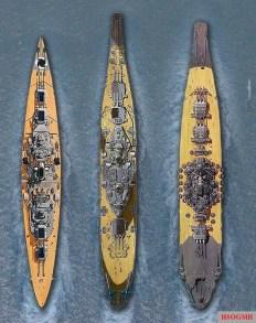 Bismarck, USS Iowa, & Yamato.