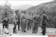 Field Marshal Kesselring in Italy, surrounded by his officers.