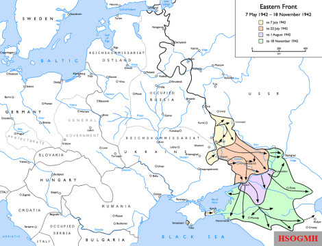 The German advance from 7 May to 18 November 1942.