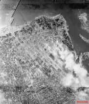 Vertical photographic-reconnaissance taken over Le Havre, France after daylight raids on 5, 6 and 8 September 1944.