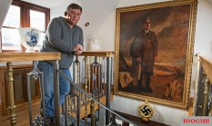 Kevin Wheatcroft at home in Leicestershire, where he keeps one of the largest collections of German military vehicles and memorabilia.