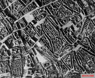 RAF aerial view of Nuremberg, showing the winding lanes of the old medieval town in the centre of the city.