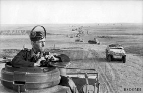 A column of tanks and other armoured vehicles of the Panzerwaffe, near Stalingrad, 1942.